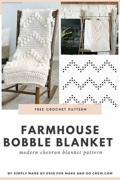 This free crochet bobble stitch blanket pattern is easy, fast and beginner-friendly. Made with basic crochet stitches to create a bobble texture, this chunky throw is perfect for beginners to learn a new technique. It uses Lion Brand's Wool Ease Thick and Quick yarn so it works up quickly. #makeanddocrew #freecrochetblanketpattern Basic Crochet Stitches, Crochet Basics, Crochet Patterns, Easy Patterns, Blanket Patterns, Knitting Patterns, Crochet Home, Free Crochet, Crochet Wraps