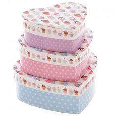 Lot De 3 Boîtes à Cadeaux En Coeur- Cupcake