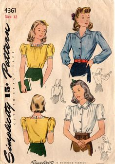 1940s Simplicity 4361 Vintage Sewing Pattern Girl's Blouses Size 8, Size 12