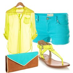 """summer outfit -- turquoise and yellow"" by tcechini on Polyvore"
