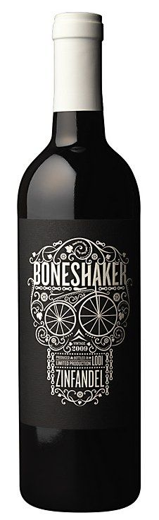 """Boneshaker"" - I like the mix of typography, lines and objects to make the skull. It's interesting and makes the bottle stand out."