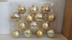 LOT OF 14 GOLD PLASTIC CHRISTMAS TREE HOLIDAY DECORATIVE ORNAMENTS BULBS