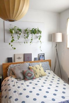 hanging plants above the bed