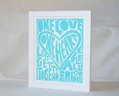 One Love Wall Art, Nursery Decor, Nursery Art Print, Kids Wall Art, Bob Marley Inspired One Love Valentine's Day