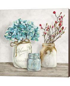 Metaverse Art Floral Composition with Mason Jars I Canvas Wall Art, Multicolor Art Floral, Floral Wall, Floral Prints, Canvas Artwork, Canvas Frame, Canvas Wall Art, Wall Design, Framed Art, Mason Jars