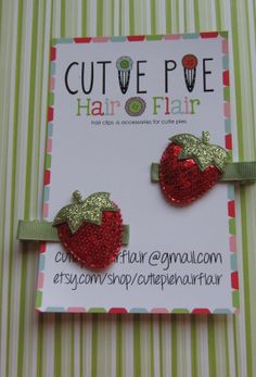 Red Sequin Strawberry Clippies by CutiePieHairFlair on Etsy, $6.00