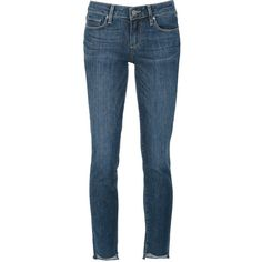 Paige High Low Cutout Hem Skinny Jeans ($215) ❤ liked on Polyvore featuring jeans, blue, cutout jeans, cut out jeans, denim skinny jeans, blue jeans and skinny leg jeans