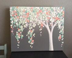 Vert menthe et pêche corail Art, arbre texturé, crèche de l'Art, peinture originale sur toile, sélectionner votre taille