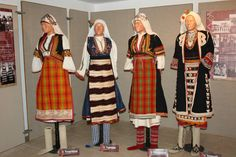 Female traditional dress of Bulgarian refugees from Thrace (from left to right) - summer holiday dress from the village of Kushlanli, Western Thrace (today Xylaganí Maroneia-Sapes municipality); summer holiday dress from the village of Tarnovo, Eastern Thrace (today Bayramlı, Uzunköprü district); winter holiday dress from the village of Kushlanli, Western Thrace and winter holiday dress from the village of Enikyoy (today Paşayenice, Meriç district), Eastern Thrace