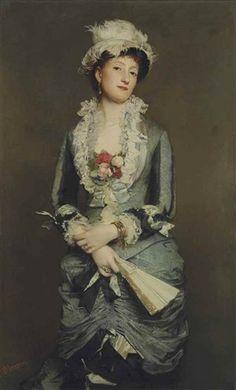 Lady with a Fan by Roberto Bompiani (Italian 1821-1908)
