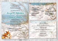 Beach Wedding Invitations, Seashell Wedding Invitation, Beach Themed Invitation, Wedding Starfish Invitation Sand Sea Wedding Invitations by newyorkinvitations on Etsy