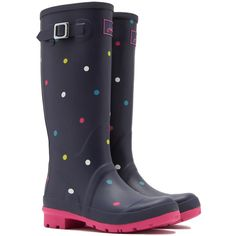 Women's Joules Women's Welly Print Rain BootsMulti Spot/7 ($70) ❤ liked on Polyvore featuring shoes, boots, black, boots & booties, wellington boots, black shoes, dot rain boots, polka dot boots and black rubber boots