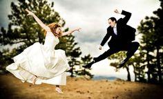Bride and Groom: crouching bride, hidden groom - dancing martial arts style. (Photographer: Amanda Kopp @ www.amandakopp.com)
