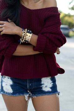 Bordeaux sweater + Denim cutoffs