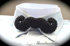 Black beaded moustache bow tie beads embroidery by Ihandmadethis Handmade Necklaces, Handmade Jewelry, Handmade Gifts, Beaded Brooch, Beaded Necklace, Women Bow Tie, Beaded Crafts, Black Seed, Unusual Jewelry
