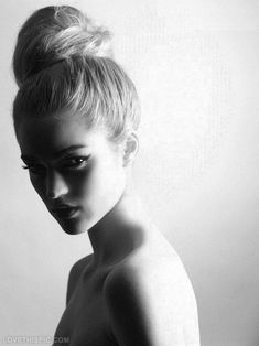 Black and white model photography black and white hair beautiful pretty model bun