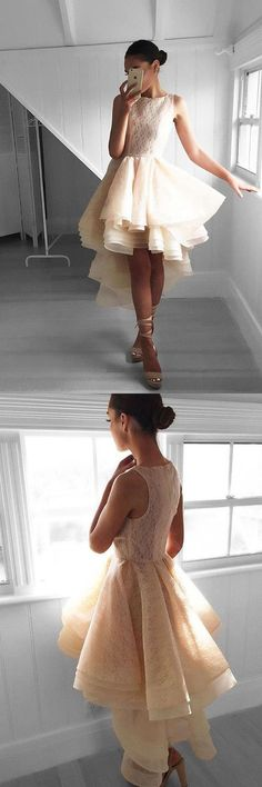 Prom Dresses High Low #PromDressesHighLow, Lace Prom Dresses #LacePromDresses, Prom Dresses Short #PromDressesShort