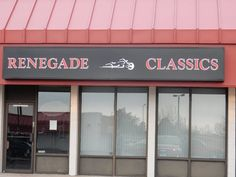#channelletters #illuminatedsignage #ledlighting #LEDlitsigns #graphicdesign #installationservices #lightboxes #SignaramaColorado #Signs #colorado Light box for Renegade Classics Motorcycle shop