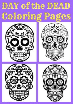 Beautiful Day of the Dead Sugar Skull Coloring pages - PDF Link To PRINT