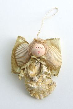 Handmade Gold Oyster Shell Angel Ornament