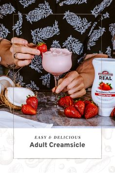 Strawberry Drinks, Strawberry Puree, Coconut Cream, Coconut Milk, 4th Of July Desserts, Vanilla Vodka, Other Recipes, Recipe Using, Alcoholic Drinks