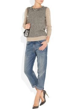J.Crew | Crystal-collar herringbone wool-blend sweater | NET-A-PORTER.COM