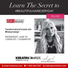 Virtual Edu! Get inspired with #KeratinComplex and learn how to get stronger, smoother + healthier hair! Tune in to @keratincomplex IGLive and hear from the experts. Transformational braids with @haleymestep! WEDNESDAY, JUNE 30 1:00PM EST / 10:00AM PST . . #keratincomplex #beautifulhaireveryday #kcunplugged #frizzfree #healthyhair Keratin Complex, Healthy Hair, Braids, June 30, Learning, Wednesday, How To Get, Beauty, Inspired