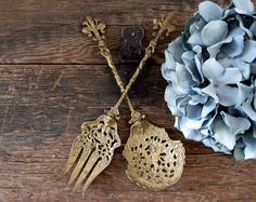 Large Spoon And Fork Set Shabby Chic Brass by SeaLoveAndSalt