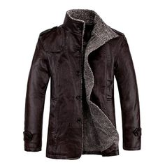 Men's Quality PU Leather Slim Fit Plush Thickened Warm Jacket at Banggood