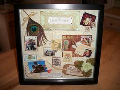 A shadow box memory collage