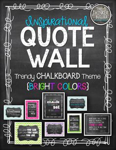 """Create a stylish quote wall with a """"Trendy Chalkboard"""" theme and popular BRIGHT colors: blue, pink, lime, & purple! Choose from several coordinated versions of 10 favorite inspirational quotes. Arrangement ideas included! ($)"""