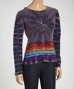 Love this Blue Stripe Tie-Dye Scoop Neck Top by Royal Handicrafts on #zulily, $18 !!  #zulilyfinds