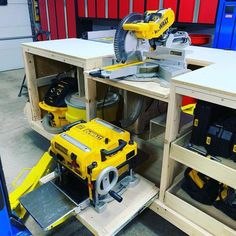 New dewalt tool storage miter saw Ideas Tool Storage, Garage Storage, Woodworking Shop, Woodworking Projects, Woodworking Workbench, Woodworking Nightstand, Woodworking Lessons, Industrial Workbench, Woodworking Articles