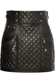 Quilted leather mini skirt by Balmain