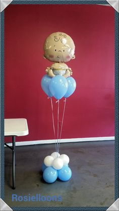 Owl Centerpieces, Ballon Decorations, Baby Boy Balloons, Baby Shower Balloons, Baby Shower Gender Reveal, Baby Boy Shower, Balloon Ideas, Ideas Para Fiestas, Party Shop
