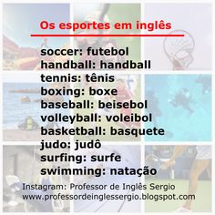 Os esportes em inglês. #inglês #aprenderinglês #inglêsparabrasileiros English Tips, Learn English, English Grammar, Hand Lettering, Study, Let It Be, Learning, Teaching Tips, Teaching English