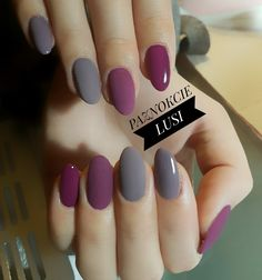 Purple and Grey Nails