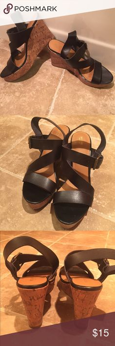 Mossimo Strappy Leather Sandals Super cute strappy sandals, perfect for summer! It pains me to part with these but they are just slightly too tall for me to walk in comfortably. Mossimo Supply Co Shoes Sandals