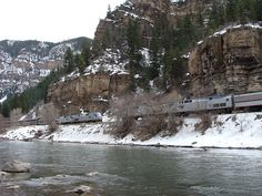 California Zephyr--Eastbound meets Westbound in Glenwood Canyon
