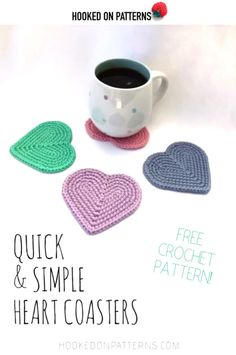Make your own heart coasters with this quick and easy FREE crochet pattern! Full photo tutorial, perfect for beginners. and easy crochet projects for beginners Free Easy Heart Coasters Crochet Pattern [Beginner friendly with photo tutorial] Beginner Crochet Projects, Easy Knitting Projects, Knitting For Beginners, Start Knitting, Quick Crochet Patterns, Easy Knitting Patterns, Tutorial Crochet, Crochet Coaster Pattern Free, Free Crochet Patterns For Beginners