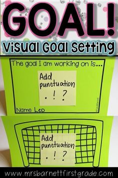 """Students need to know their goals in order to achieve them. Use this visual goal setting sheet as a great visual reminder for them. The use of a soccer net really """"hits home"""" the idea of achieving a goal! This resource can be used for a variety of subject Teaching First Grade, First Grade Teachers, First Grade Math, Classroom Behavior, Autism Classroom, Classroom Management, Classroom Ideas, Goal Setting Sheet, Goal Setting For Students"""