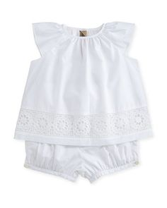Lulla+Poplin+Lace-Trim+Top+w/+Bloomers,+White,+Size+3-24+Months+by+Burberry+at+Neiman+Marcus.