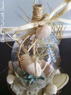 Seashell Candles, Seashell Crafts, Diy Candles, Clock Craft, Wine Glass Candle Holder, Shell Decorations, Wine Glass Crafts, Candle Craft, Arts And Crafts Projects