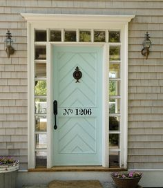 {via My Chic My Way} Entry doors offer guests the first glimpses of your aesthetic. They set the tone for what's in store once they step through the doors. But exterior doors don't have… Doors, Home, House Exterior, House Design, Sweet Home, House Numbers, Door Color, Front Door, House Colors
