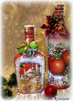 "Photo from album ""Ручная работа on Yandex. Recycled Wine Bottles, Painted Wine Bottles, Lighted Wine Bottles, Glass Bottle Crafts, Wine Bottle Art, Decoupage Glass, Christmas Decoupage, Altered Bottles, Christmas Wine"
