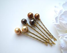Autumn Pearl Hair Pins Mix 3 Brown Copper and Gold Gold Beads, Pearl Beads, Ear Cuff Tutorial, Boquette Flowers, Gold Blonde, Pearl Hair Pins, Hair Jewelry, Bridal Jewelry, Hair Accessories For Women