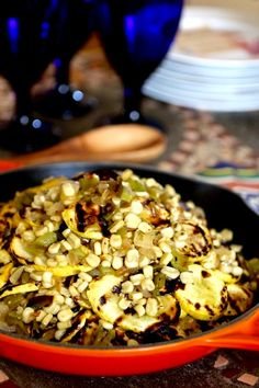 Calabacitas with Hatch Chiles - Grilled Yellow Squash, Roasted Hatch New Mexico Chiles White Corn, Onion, Oregano, Cumin Green Chili Recipes, Mexican Food Recipes, Ethnic Recipes, Chilli Recipes, Mexican Dishes, Salmon Recipes, Hatch Recipe, Calabacitas Recipe, Hatch Peppers