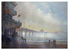 Thomas W Schaller    pier - manhattan beach  Watercolor   22 inches x 30 inches