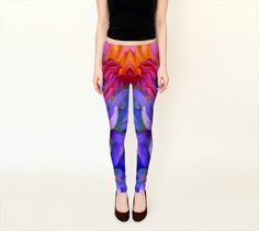 Check out Wearable Art, exclusive design woman leggings shaping flattering Abstract purple pink orange floral glow print light sport paint tights on artdreamstudio