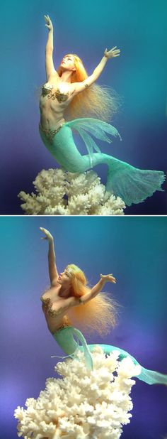 """Patricia Rose designs, Blue Water Mermaid, 9"""" polymer clay"""